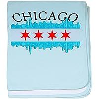 CafePress – シカゴスカイライン – スーパーソフトベビー毛布、新生児おくるみ ブルー 071499365825CD2