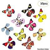 10個 飛ぶ蝶 模擬 蝶 フィギュア 飛んでいる蝶のおもちゃ 動物モデル おもちゃ ギフト まるで生きているかのような蝶々の動きにビックリ 5 X 4.4 X 1.4インチ