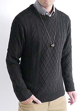 (オークランド) Oakland ケーブル編み ニット セーター フィッシャーマン ケーブル デザイン カジュアル トップス 編み MODE メンズ ブラック LLサイズ