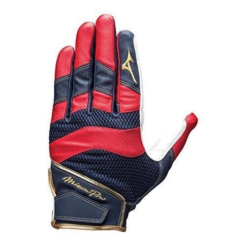 ミズノ(MIZUNO) ミズノプロ 守備手袋(左手用) 1EJED160 14 ホワイト/レッド/ネイビー S