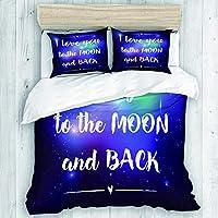 XINGAKA 布団カバー シングル 3点セット,バレンタインと宇宙ムーンとバックタイポグラフィにあなたを愛して, ベッド用 掛け布団 + 枕 カバー 洋式 和式兼用