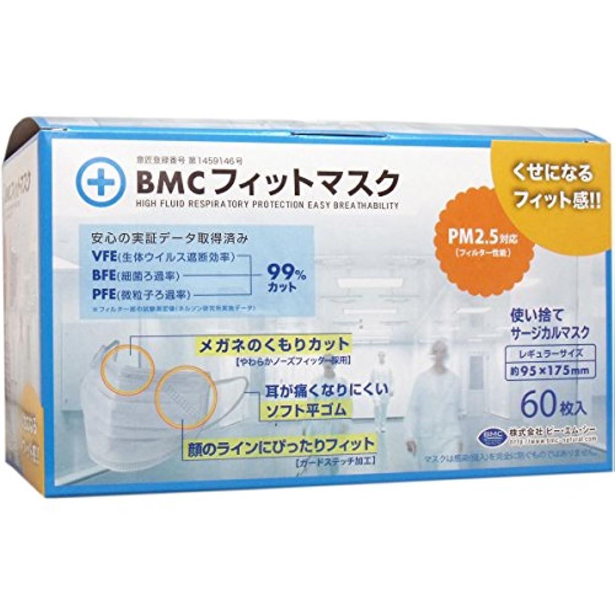 土曜日実装するシーン【セット品】(PM2.5対応)BMC フィットマスク 使い捨てサージカルマスク レギュラーサイズ 60枚入【×8個】