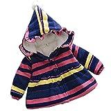 エフティーゾーン(Ftzone)子供服ベビー赤ちゃんの子供の女の子コート コットン暖かい綿 防寒 冷え取り冬物 ダウンジャケット ダウンコート 上着 防風(ストライプ) (L/身长100cm, 赤)
