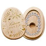 名入れ デザインが選べる 乳歯ケース 乳歯入れ 松 木製 たまご型 出産祝い メモリアル ギフト (名入れデザインDタイプ)