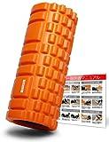 ACELETE フォームローラー Foam Roller 筋膜リリース 写真付きマニュアル 次世代トレーニング器具 (オレンジ)