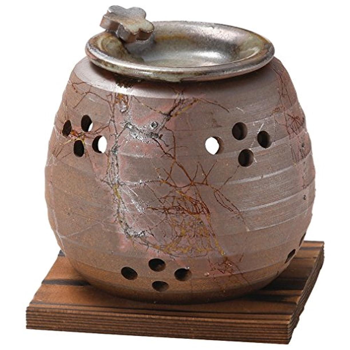 ヒゲクジラペイン夜明け山下工芸 常滑焼 石龍焼〆藻掛茶香炉 12.5×11×11cm 13045730