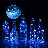 Vulcan ワインボトルライト ワイヤーライト DIY飾り コルク 2M 20個電球 LEDイルミネーシ 新年 クリスマス パーティディナー インテリア装飾 結婚式 防水 6個セット(ブルー)