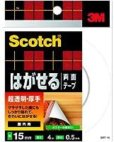 3M はがせる両面テープ 超透明『厚手』 (SRT-15) 15×4m ケース10巻入り
