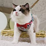 (Enerhu)猫ハーネス 猫用リード 胴輪 猫牽引ロープ 胸あて式 猫用 イングランド風 蝶結び リボン 可愛い 高級 お散歩用 お出かけ 猫 ペット用品 #4 M