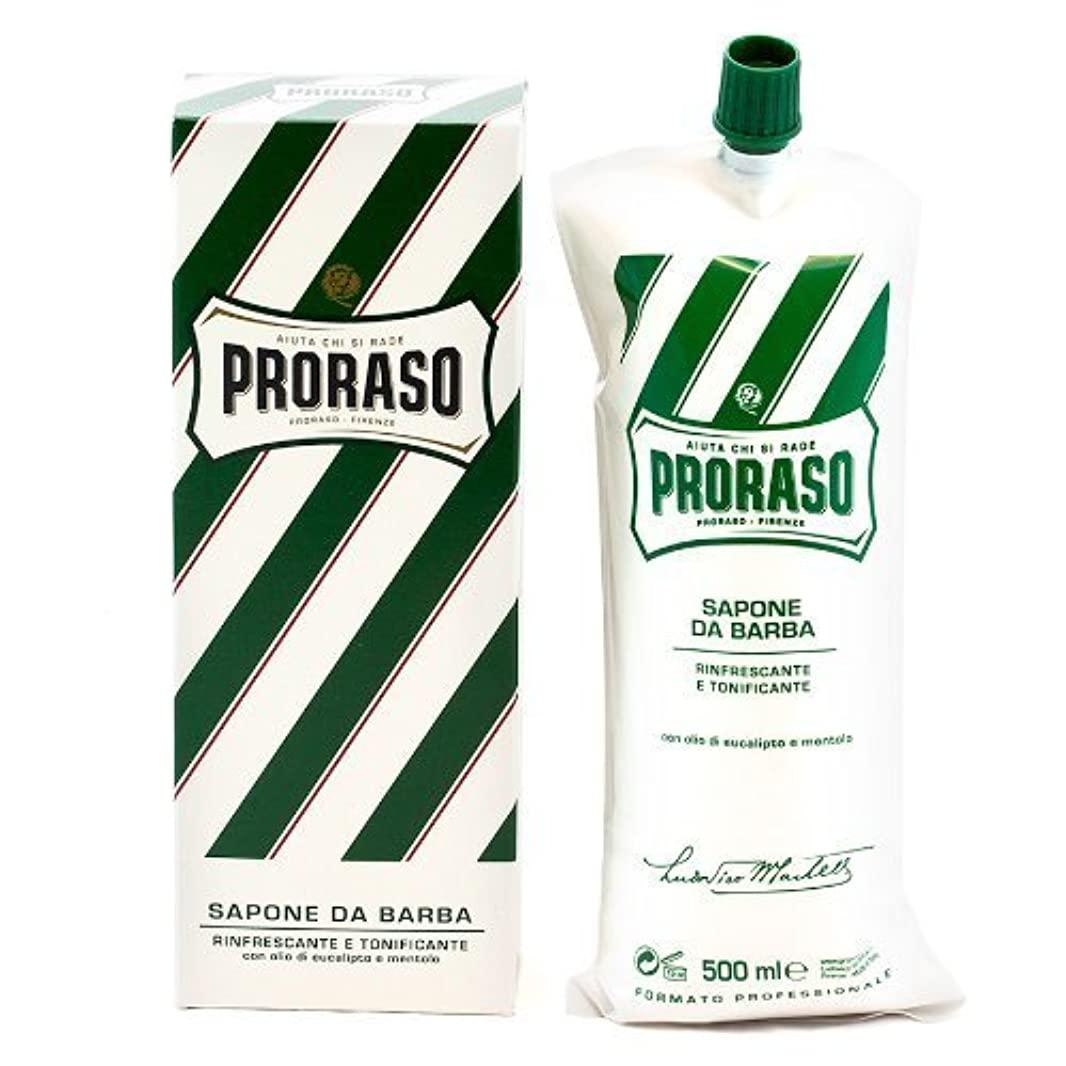 スケートなすバイソンProraso Shave Cream Menthol & Eucalyptus 500ml Tube by Proraso [並行輸入品]