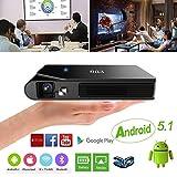 EUG ミニ プロジェクター 1600 ルーメン DLPプロジェクター 小型 3D WiFi HDMI Bluetooth HD 1080P 6000:1 コントラスト ポータブル式 Android 5.1