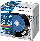 三菱化学メディア Verbatim 音楽用CD-R 80分 1回録音用 「Phono-R」 48倍速 5mmケース 20枚パック レコードデザインレーベル 5色カラー MUR80PHS20V1