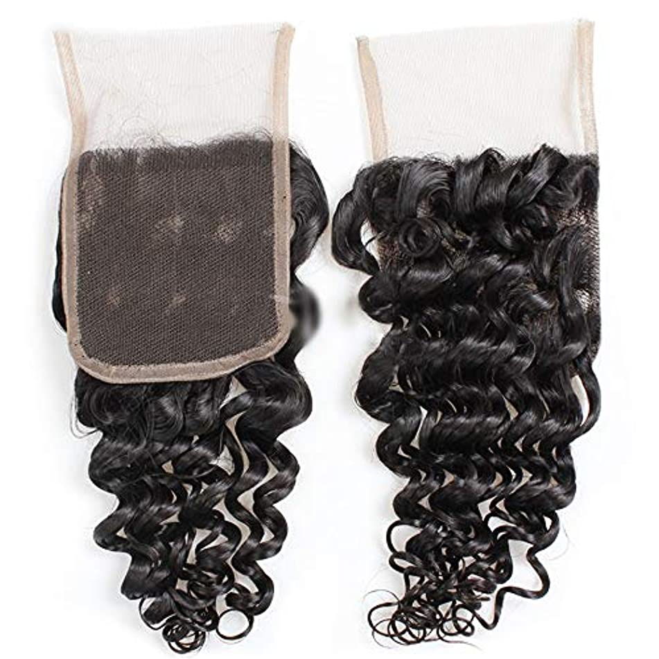 作る落ち着く存在HOHYLLYA 9Aブラジルディープウェーブヘア4×4インチレース前頭部閉鎖100%未処理人間の髪の毛中央部自然な外観の複合毛レースかつらロールプレイングかつらロングとショートの女性自然 (色 : 黒, サイズ : 8...