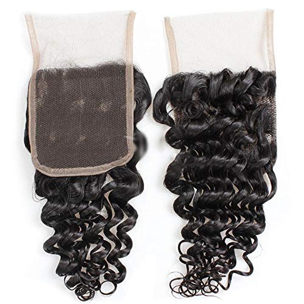マニュアル通信網増幅HOHYLLYA 9Aブラジルディープウェーブヘア4×4インチレース前頭部閉鎖100%未処理人間の髪の毛中央部自然な外観の複合毛レースかつらロールプレイングかつらロングとショートの女性自然 (色 : 黒, サイズ : 8...