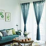 半薄い レースカーテン,単色通気窓カーテン フック付きのリビング ルームのカーテン(1 パネル)-青 300x250cm(118x98inch)