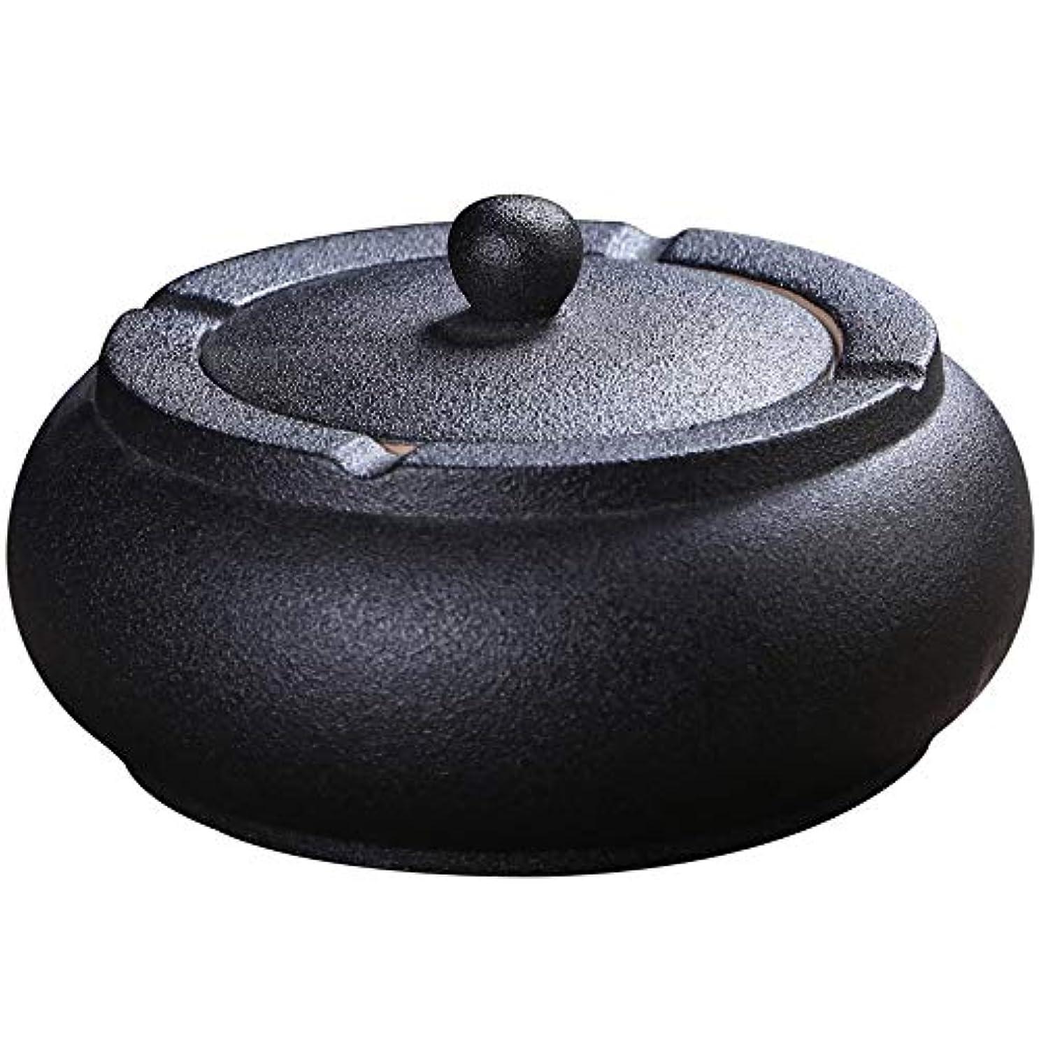 食堂邪悪な倫理的ふたが付いている陶磁器の灰皿、防風、喫煙者のための灰のホールダー、ホームオフィスの装飾の黒のためのデスクトップの喫煙灰皿