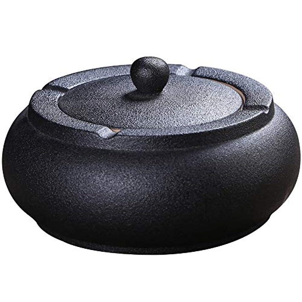 わかりやすい用量わかりやすいふたが付いている陶磁器の灰皿、防風、喫煙者のための灰のホールダー、ホームオフィスの装飾の黒のためのデスクトップの喫煙灰皿