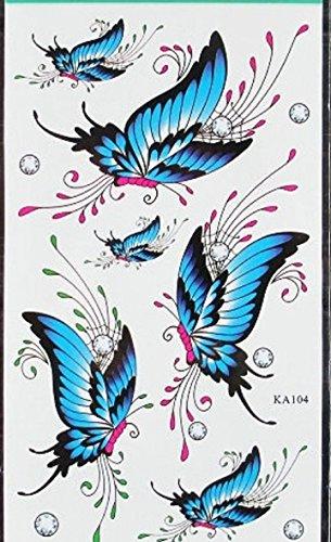 セクシー タトゥーシール 薔薇 と 蝶 5種類 5枚 セット tatrnb101