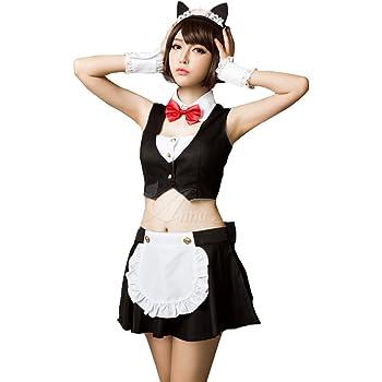 Anna Mu ネコ耳 メイド メイド服 コスプレ コスチューム 衣装 女性用 大人用 黒 レディース z1225-1