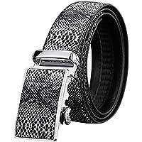 feelingood Men Automatic Buckle Ratchet Belt Leather Snake Skin Embossed Exact Fit Gift