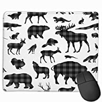 """Grey Plaid Animals Mouse Pad Non-Slip Rubber Gaming Mouse Pad Rectangle Mouse Pads for Computers Desktops Laptop 9.8"""" x 11.8"""""""