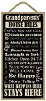 """Grandparents House Rules 5"""" x 10"""" wood sign plaque by SJT. [並行輸入品]"""