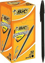 BIC 812803 Economy Ball Pens Medium Point (1.0 mm) - Black, Box of 50