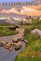 イエローストーン国立公園–Moose and Meadowシーン 9 x 12 Art Print LANT-54050-9x12