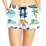 ヤシの木柄女性ビーチパンツ 水着 おしゃれ短パン カジュアルパンツファッションパンツ 春夏ショートパンツ ボトムス 通勤 通学 運動 日常用 オールマイティ