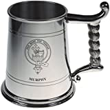 Murphy Crest Tankard with Rope Handle in Polished Pewter 1 Pint Capacity