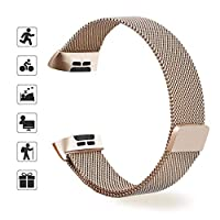Fitbit Charge 3と互換性のあるTOMALLメタルバンド、女性用、男性用、金属製、ステンレス製の金属製リストバンド (Champagne gold, small)