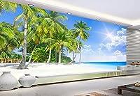Wapel 3 次元の壁紙風景ココナッツの木々テレビの背景の壁紙 3 d の壁画壁紙壁の装飾が施され papel ド parede 絹の布 200x140CM