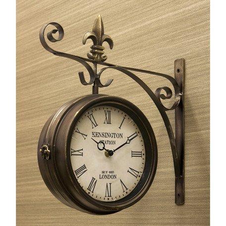RoomClip商品情報 - ステーションクロック ボスサイド ウォールクロック/壁掛け時計 ブロンズ/Lサイズ 両面時計 おしゃれ時計 アンティーク 北欧雑貨 両面時計
