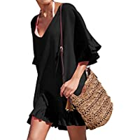 ACO Fashion V-Neck Cotton Beach Top/Swimsuit Cover Up, Black