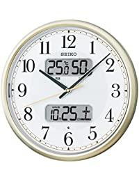 セイコー クロック 掛け時計 自動点灯 電波 アナログ カレンダー 温度 湿度 表示 夜でも見える 薄金色 パール KX384S SEIKO