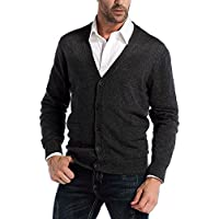 CHAUDER Kallspin Men's Relax Fit V-Neck Cardigan Sweater Cashmere Wool Blend Button Down with Pockets Charcoal