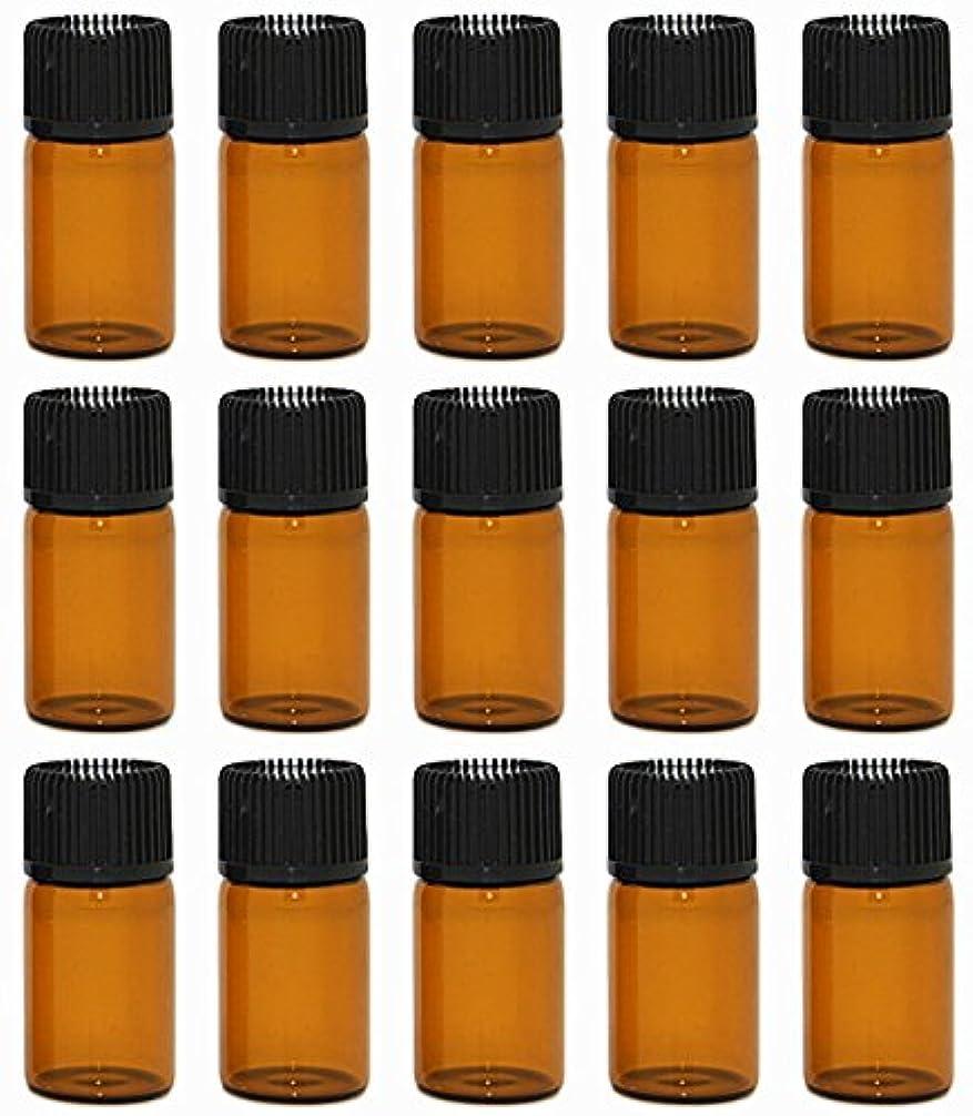 チーム砂する【Rurumi】アロマオイル 精油 小分け用 遮光瓶 セット 茶 ガラス アロマ ボトル オイル 用 茶色 瓶 ビン エッセンシャルオイル 保存 詰替え 瓶 ビン (3ml 15本 セット)