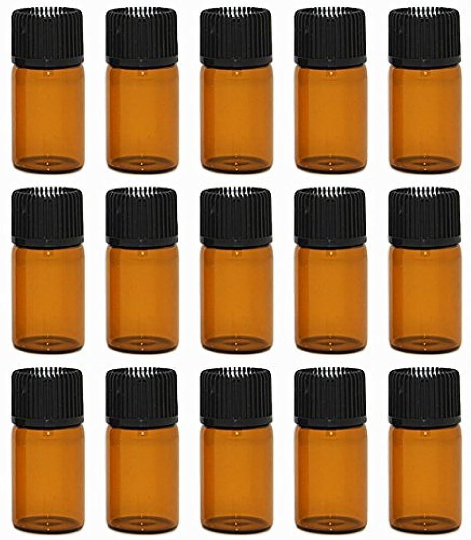 マニアックポーターやりがいのある【Rurumi】アロマオイル 精油 小分け用 遮光瓶 セット 茶 ガラス アロマ ボトル オイル 用 茶色 瓶 ビン エッセンシャルオイル 保存 詰替え 瓶 ビン (3ml 15本 セット)