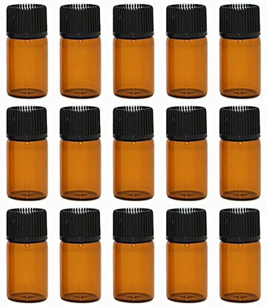 【Rurumi】アロマオイル 精油 小分け用 遮光瓶 セット 茶 ガラス アロマ ボトル オイル 用 茶色 瓶 ビン エッセンシャルオイル 保存 詰替え 瓶 ビン (3ml 15本 セット)