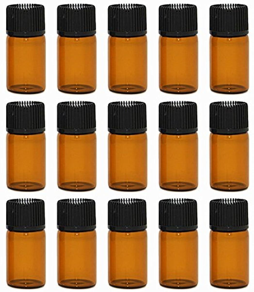 売る可決季節【Rurumi】アロマオイル 精油 小分け用 遮光瓶 セット 茶 ガラス アロマ ボトル オイル 用 茶色 瓶 ビン エッセンシャルオイル 保存 詰替え 瓶 ビン (3ml 15本 セット)