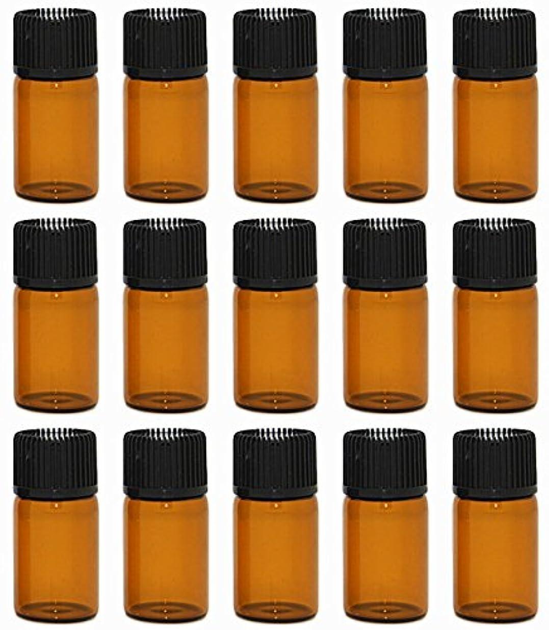 そう有利くるくる【Rurumi】アロマオイル 精油 小分け用 遮光瓶 セット 茶 ガラス アロマ ボトル オイル 用 茶色 瓶 ビン エッセンシャルオイル 保存 詰替え 瓶 ビン (3ml 15本 セット)