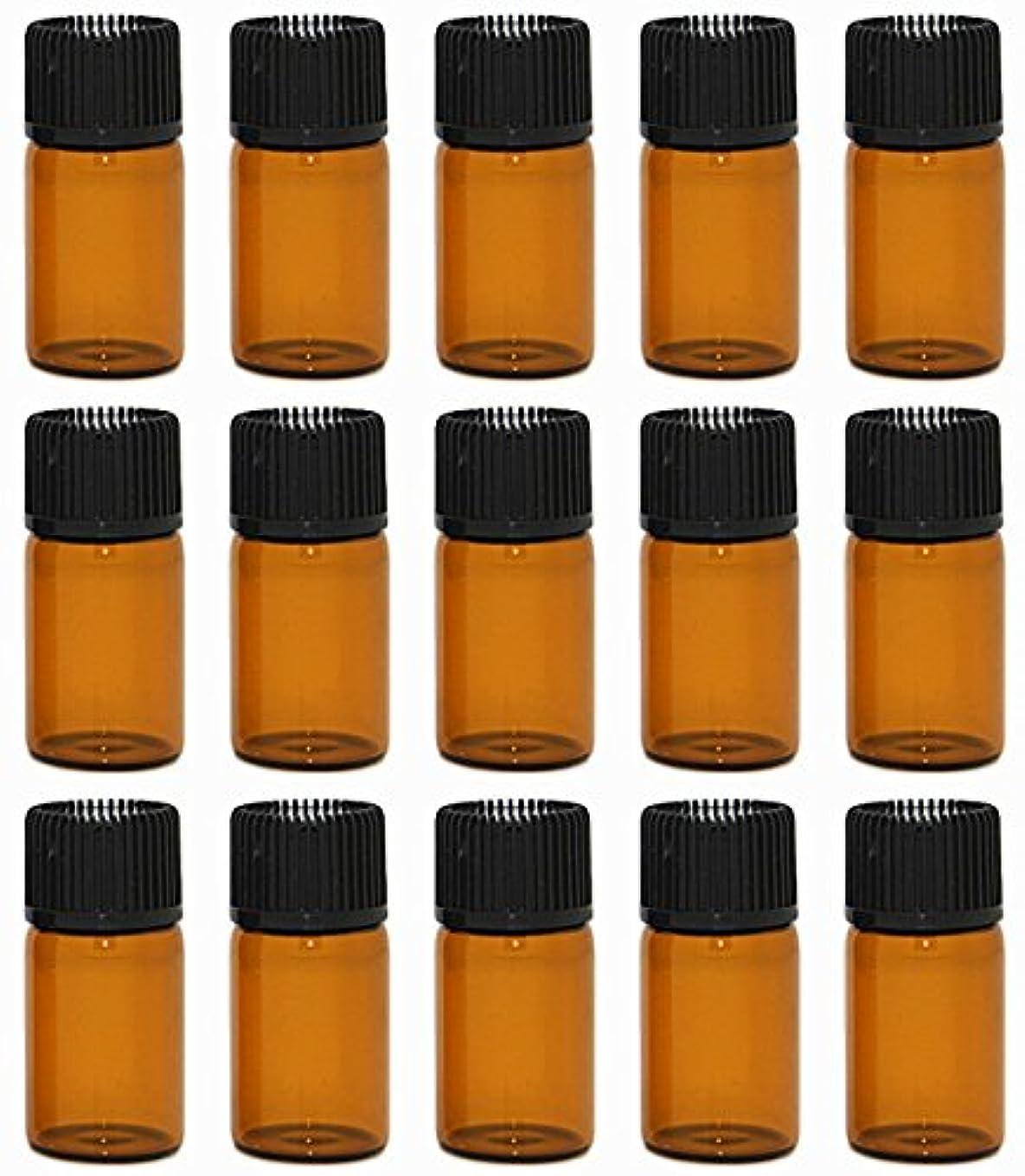 アクロバット高架証明【Rurumi】アロマオイル 精油 小分け用 遮光瓶 セット 茶 ガラス アロマ ボトル オイル 用 茶色 瓶 ビン エッセンシャルオイル 保存 詰替え 瓶 ビン (3ml 15本 セット)