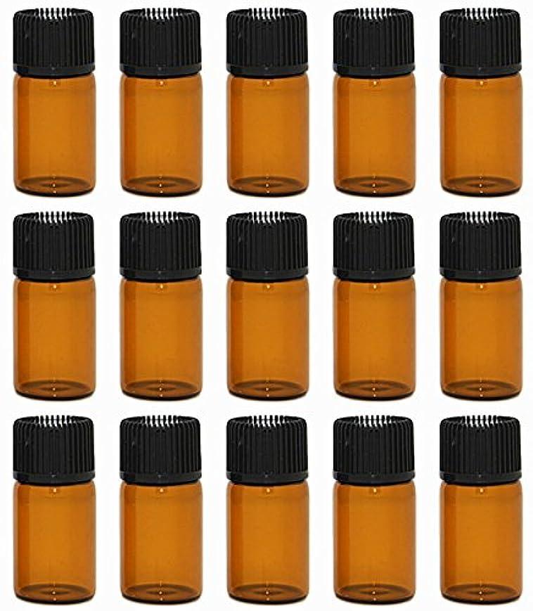 レベル取り出すラッチ【Rurumi】アロマオイル 精油 小分け用 遮光瓶 セット 茶 ガラス アロマ ボトル オイル 用 茶色 瓶 ビン エッセンシャルオイル 保存 詰替え 瓶 ビン (3ml 15本 セット)