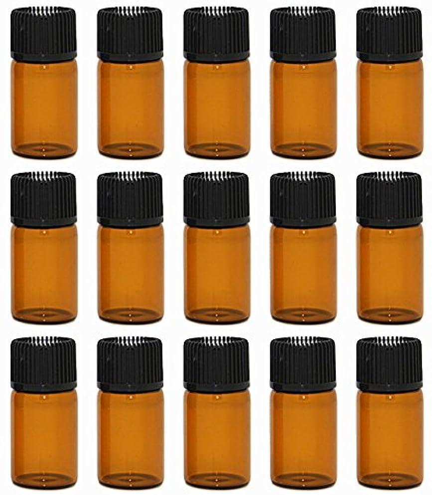 成功動く予防接種【Rurumi】アロマオイル 精油 小分け用 遮光瓶 セット 茶 ガラス アロマ ボトル オイル 用 茶色 瓶 ビン エッセンシャルオイル 保存 詰替え 瓶 ビン (3ml 15本 セット)