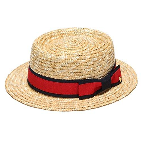 リンジィ(Lindsay) リボンつきカンカン帽【アカ/FREE】