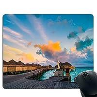 美しいビーチと絶景 ビーチ・ヴィラズ・マウスパッド・ゲーミングマウスパッド・ノンスリップマウスパッド ・した ゲーミングマウスパッド PC ラップトップ オフィス用 長方形マウスパッド