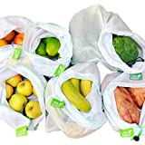 8 Pack UseAgain Zero Waste Reusable Produce Bags | Drawstring | Medium & Large Sizes in White | Extra Strong, Washable, See T