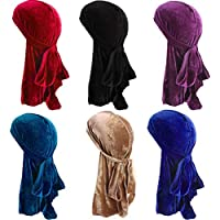 Song Qing Women Velvet Durag Turban Wrapped Hat Pirate Caps Extra Long Wide Straps