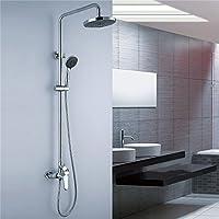 欧州ガラスシャワーシャワーシャワーシャワーシャワー完全に銅デラックス2機能シャワーヘッドハンドシャワーシャワーシステム/クロームメッキ