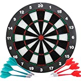 Safety Dart Board Set for Kids and Adults,16 Inch Soft Rubber Dart Board Game with 6 Darts for Outdoor/Indoor Family and Office Best Dart Game Toys Gifts for Boys Girls